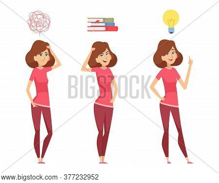 Woman Find Solution. Thinking Girl, Isolated Female Looking For Answers To Questions Vector Illustra