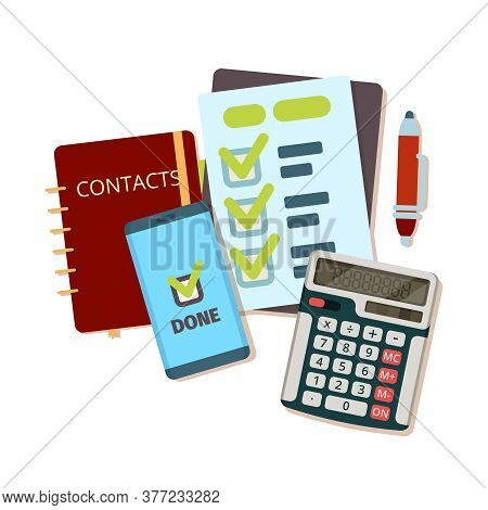 Calculator Business Tools. Modern Stationery Notebook Pen Paper Sheet Vector Top View Flat Picture.