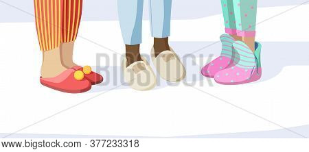 Legs In Slippers. Pajama Party Concept Kids In Night Clothes Textile Soft Sandals Vector Pictures Se