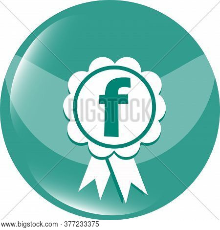 Letter F In The Web Button. Pictograph Of Award. Icon Symbol Design
