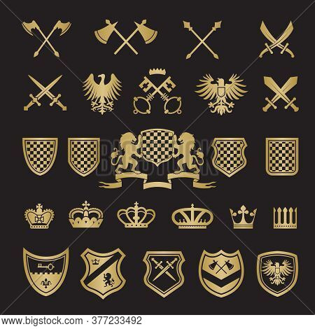Heraldic Badges. Medieval Stylized Shapes Swords Shields Crowns Lions And Knight Ribbons For Vector