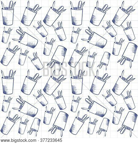 Pattern Of Contour Illustration Of A Cup With Pencils. Vector Illustration On A Wite Isolated Backgr