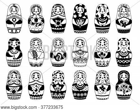 Russian Dolls Collection. Monochrome Traditional Female Toy Floral Decoration Moscow Woman Authentic