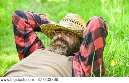 Nature Is My Home. Rest In Countryside. Farmer Bearded Man Rest After Day Work. United With Motherla