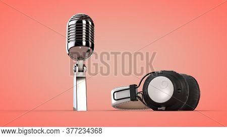 Studio Audio Headphones And Microphone. 3d Rendering.