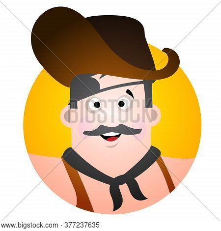 Round Sticker With The Image Of A Fun Pirate In A Cocked Hat And Eye Patch. Cartoon Illustration For