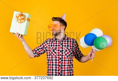 Shopping Day. Fathers Day Concept. Handsome Cheerful Young Man With Smile Having Fun On Party. Peopl