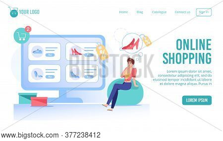Online Fashion Smart Shopping Service Landing Page. Young Woman Shopper Choosing Making Decision To
