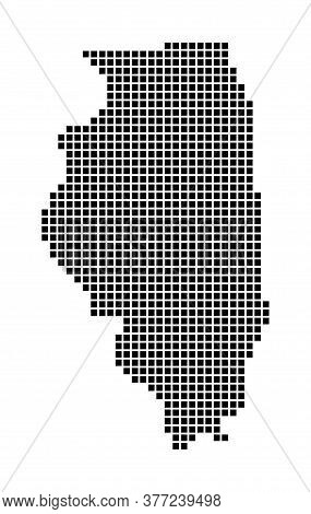 Illinois Map. Map Of Illinois In Dotted Style. Borders Of The Us State Filled With Rectangles For Yo