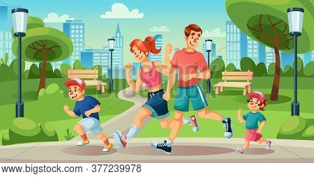 Happy Family Children Jogging In Summer City Park. Mother, Father, Son, Daughter, Dog Pet Running. P