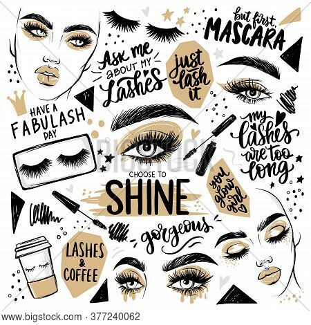 Golden Makeup Set With Woman Portrait, Girl Faces, Eyes With Lashes, Mascara, Eyeshadow, Brows And Q