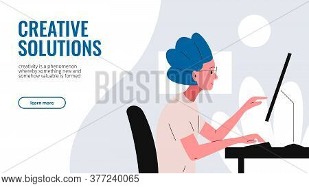 Website Interface For Designer Portfolio. Flat Vector Illustration Of A Beautiful Girl Working At Th