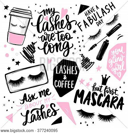 Lashes, Mascara, Makeup, Cosmetic, Coffee - Set With Closed Eyes, Lettering Calligraphy Quotes Or Ph