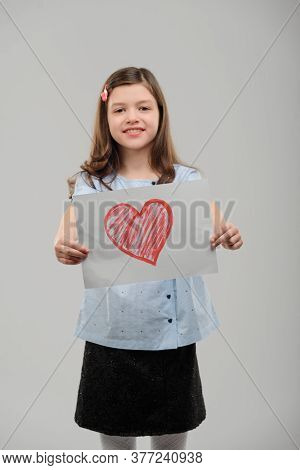Girl Showing A Valentine Card. Love Confession And True Feeling