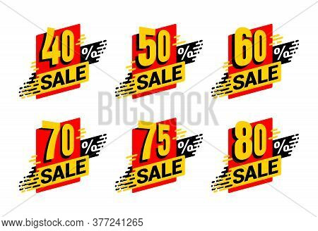 Sale Tag  - Percentage Label For Offers - 40, 50, 60, 70, 75 And 80 Percents Off