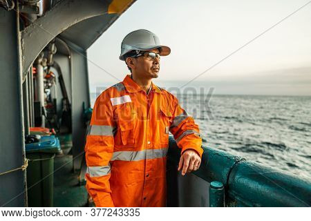Filipino Deck Officer On Deck Of Vessel Or Ship