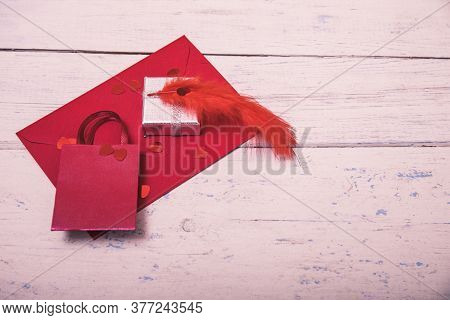 Red Envelope Or Letter, Gift, Paper Card On Rustic Wooden Table For Greeting On Mother Or Woman Day.