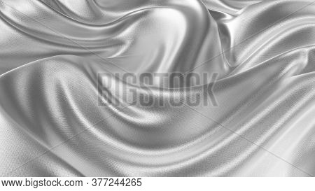 Silver Silk Wavy Fabric Abstract Background Close Up. Closeup Of Rippled Silk Fabric. Smooth Elegant
