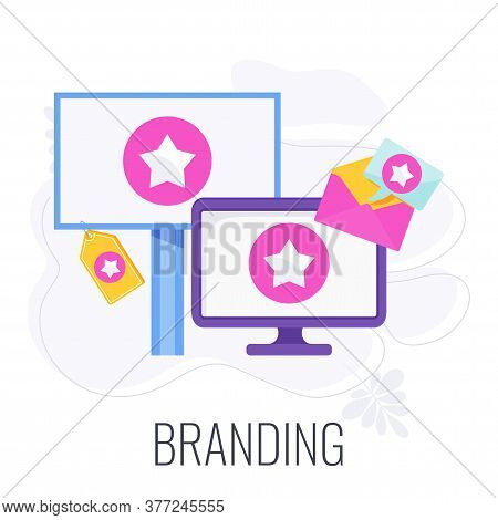 Branding Icon. Company Logo On A T-shirt, Flyers, In Advertising. Corporate Identity. Outbound Marke