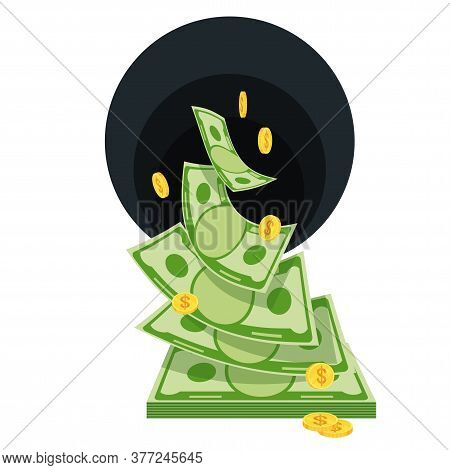Black Hole Money. Waste Of Money. Banknotes Fly Away. Bankruptcy And Collapse Of Monetary System. Ca