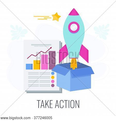 Take Action Icon. Call To Action, Cta. Report With Chart, Rocket Flies Out Of The Box. Outbound Mark