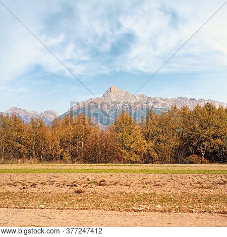 Mount Krivan Peak Slovak Symbol With Blurred Autumn Coloured Trees And Dry Field In Foreground, Typi