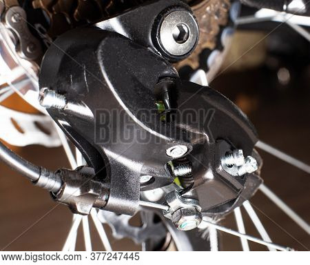 Gearshift On Mountain Bike Mtb, Chain Moves On Rings. Changes Speeds. Shift Gears On Bicycle Crank.