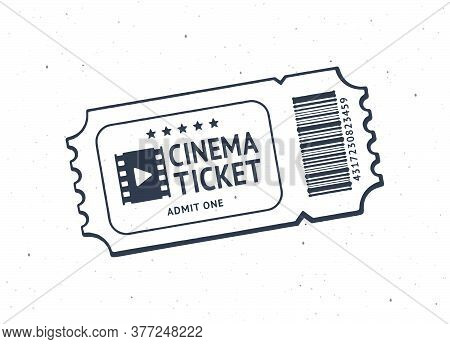 Outline Of One Cinema Ticket With Barcode. Paper Retro Coupon For Movie Entry. Symbol Of The Film In