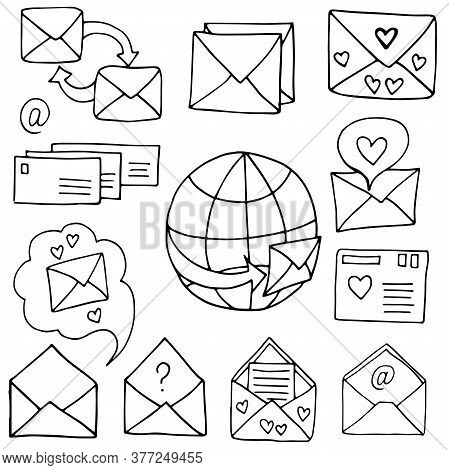 A Set Of Signs And Elements Letter Envelope Mail Message Communication Correspondence Drawings By Ha