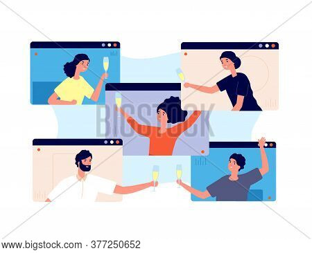 Online Party. Friends Celebrate Birthday, Meeting In Isolation Or Quarantine. Video Technology, Peop