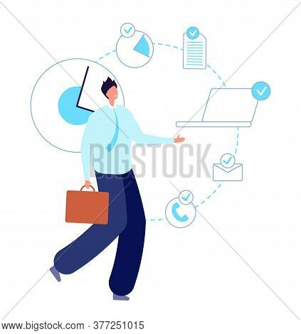 Multitask Working Man. Executive Entrepreneur, Smart Skill Businessman. Self Time Planning Manager,