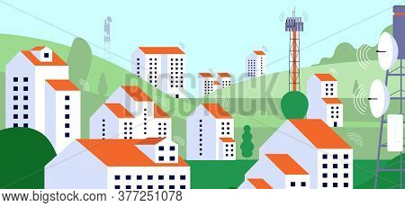Wireless Internet Landscape. Internet Equipment, Radio Satellite Tv Tower In Village. Telecommunicat