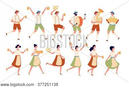 Oktoberfest Characters. Autumn Traditional Beer Festival, Persons Dancing With Drinks. German Fest,