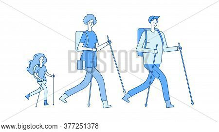 Family Trip. Hiking Trekking, Mom Dad Daughter Lead Healthy Lifestyle. People Walk In Nature Vector
