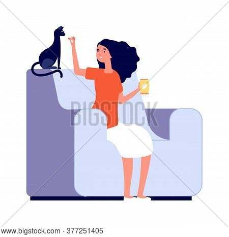 Girl And Cat. Happy Pet Owner, Isolated Woman Feed Kitten. Female Sitting On Chair And Relax With An