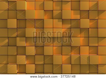 Abstract background image of gold cubes
