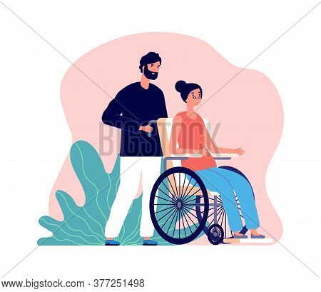Man Helping. Old Woman In Wheelchair And Young Male. Isolated Social Worker Or Volunteer With Senior