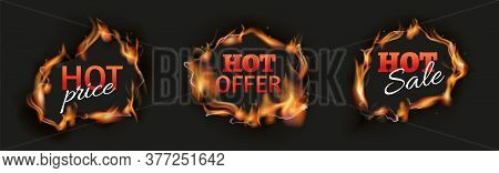 Burn Holes. Hot Sale Black Banners, Season Discount Flame Template. Realistic Advertisement Of Speci