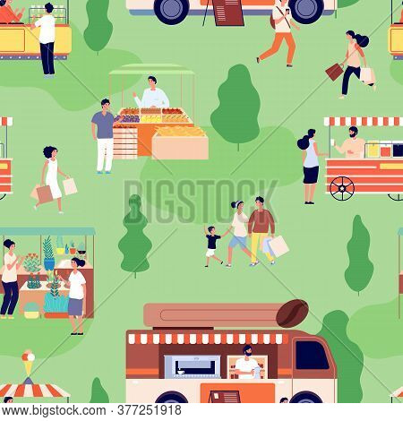 Food Market Pattern. People Buy Farm Goods, Counters With Craft Products. Summer Outdoor Festive Act