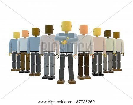 A team of 3D figures