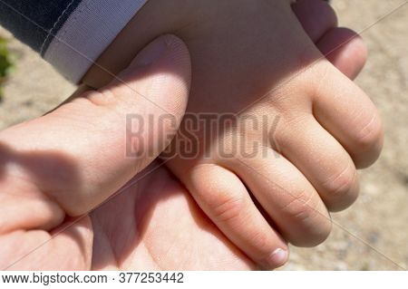 Dad Daddy Father Hold Little Child Boy Girl Hand View From Top Close-up