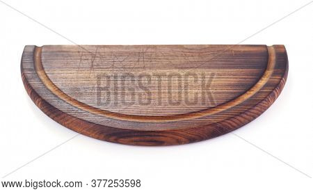pizza cutting wooden board or tray isolated on white background