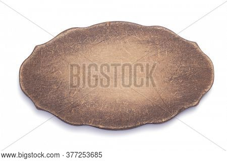 aged wooden nameplate or wall sign board isolated on white background