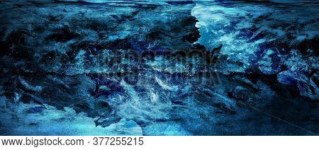 Blue Background, Vintage Marbled Textured Border. Illustration.