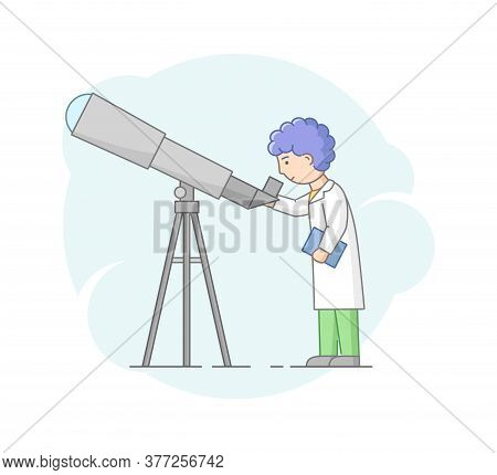 Concept Of Astronomical Observation And Science. Professor Astronomer Looking Through Telescope. Sci