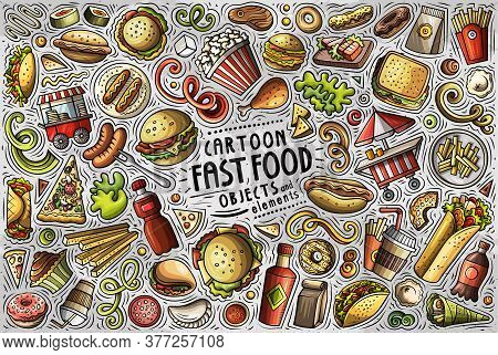 Vector Set Of Fastfood Theme Items, Objects And Symbols