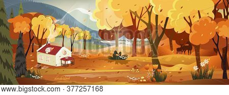 Fantasy Panorama Landscapes Of Countryside In Autumn, Panoramic Of Mid Autumn With Farm Field, Mount