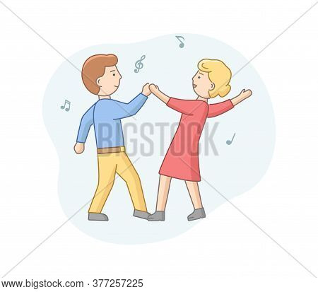 Dance Party Concept. Man And Woman Dancing Together. Satisfied Couple Dance Rhythmic Dancing. Charac