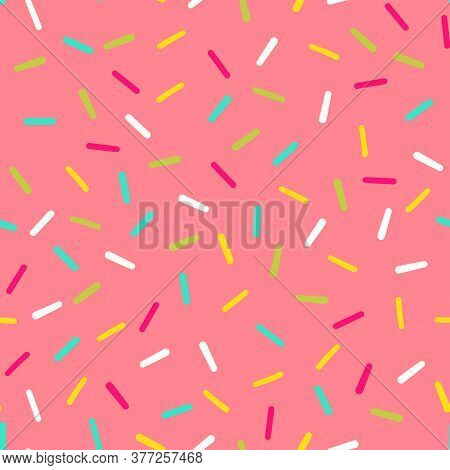 Seamless Pattern Of Pink Donut Glaze With Many Decorative Sprinkles. Donut Sugar Decoration. Vector