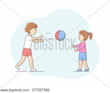 Motherhood Concept. Mother Spending Time With Her Daughter. Characters Play Ball Games, Enjoying Spe